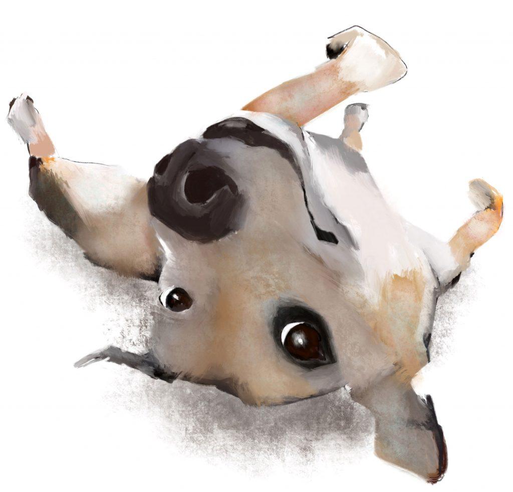 Illustration of upside down dog