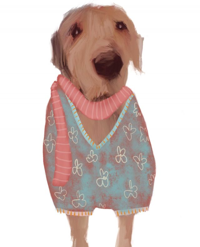 Illustration of dog dressed in jumper and scarf