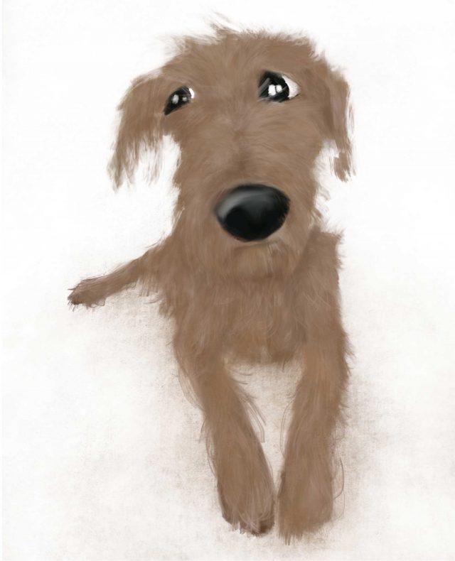 Illustration of weary dog